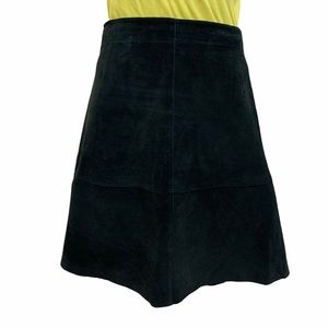 i.e. Mini Skirt Suede Leather Black Raw Hem 90's
